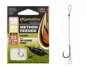 Cârlige legate Kamatsu Method Feeder Koiso cu inel de silicon Nr: 12 0.20mm