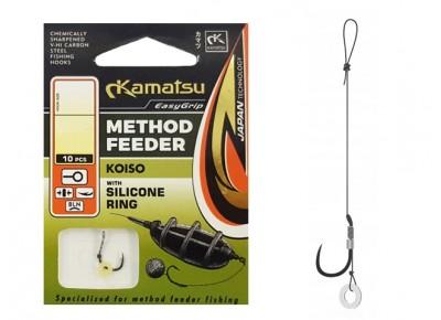 Cârlige legate Kamatsu Method Feeder Koiso cu inel de silicon Nr: 6 0.30mm